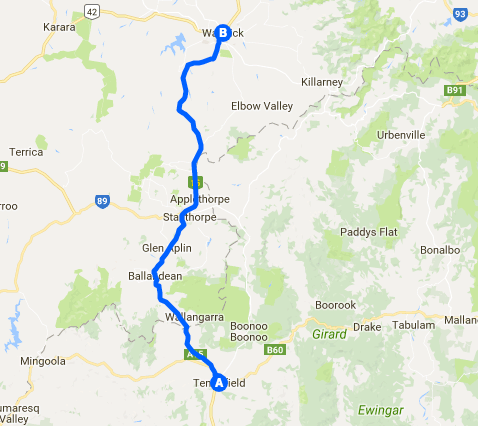 Map Route Warwick to Tenterfield