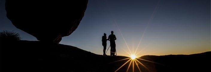 sunset while hiking