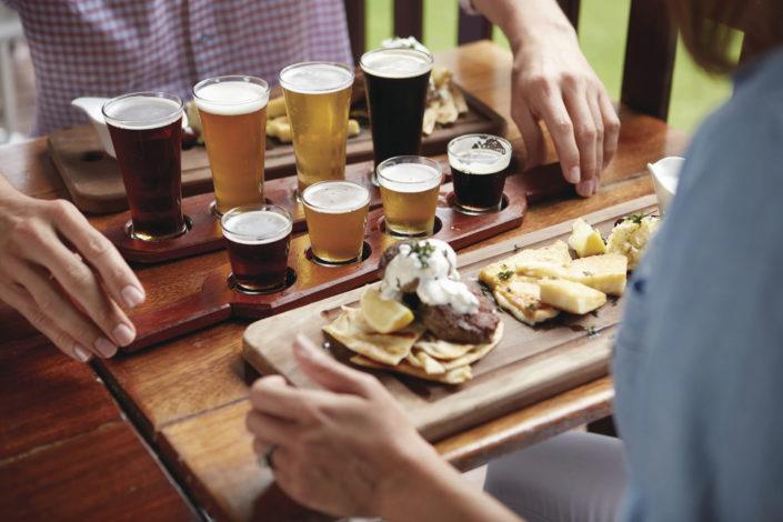 Beer tasting at a brewery