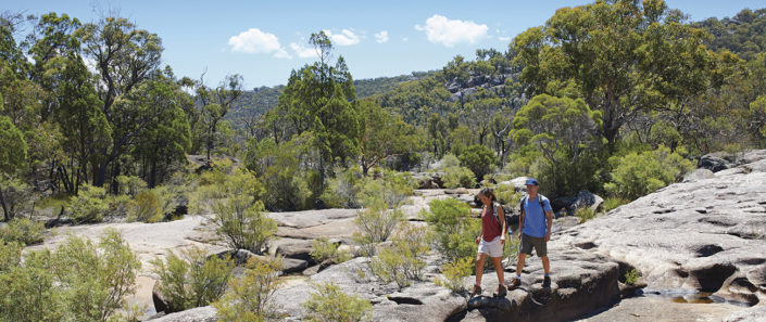Couple walking in Girraween National Park