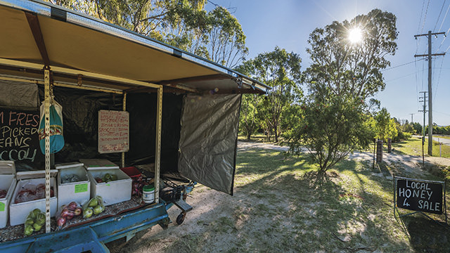Roadside produce stall in Stanthorpe