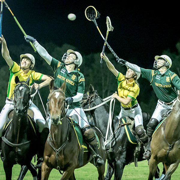 Horses battle it out in Polocrosse match