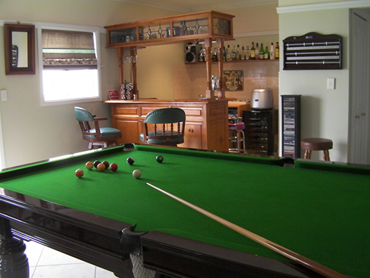 Games room at Logger's Rest B&B, Stanthorpe
