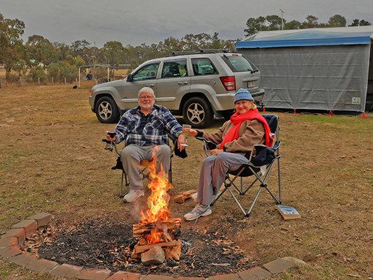 Campfire at Sommerville Valley Tourist Park & Resort, Storm King Dam