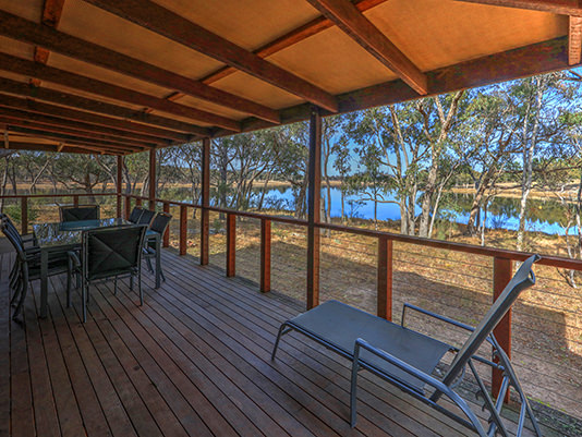 Deck at Sommerville Valley Tourist Park & Resort, Storm King Dam