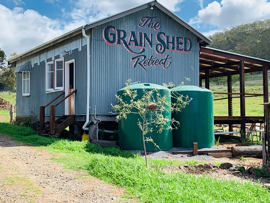 Cabin accommodation at The Grain Shed Retreat