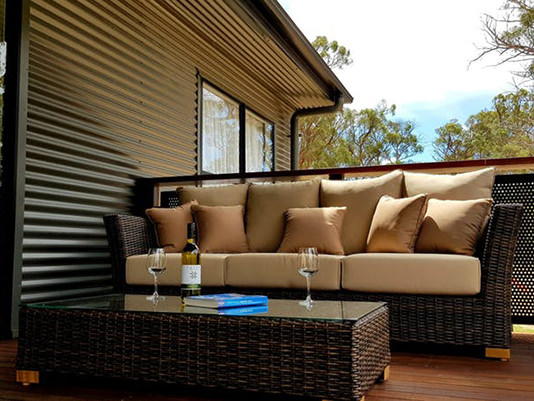 Lounge on cabin deck at Quaffers on Storm King Dam