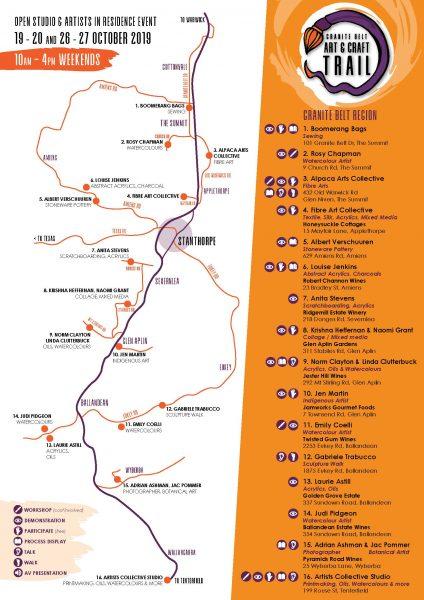 Granite Belt Art & Craft Trail map