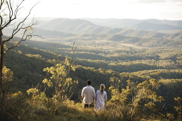 Couple enjoying mountain view at Spicers Peak at Maryvale