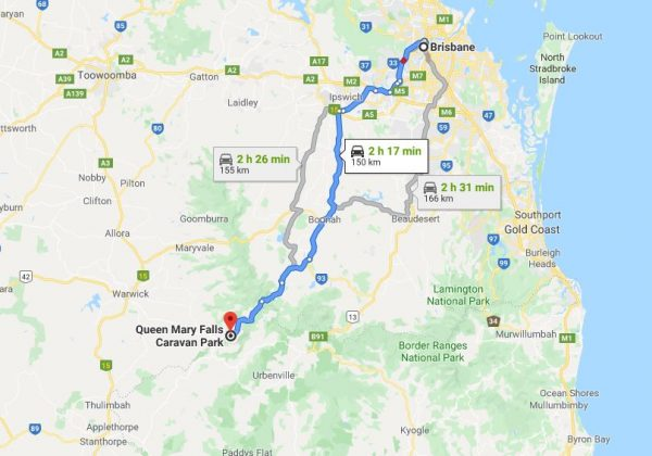 Map Brisbane to Queen Mary Falls Caravan Park