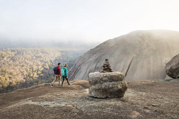 Two hikers walking on Girraween National Park