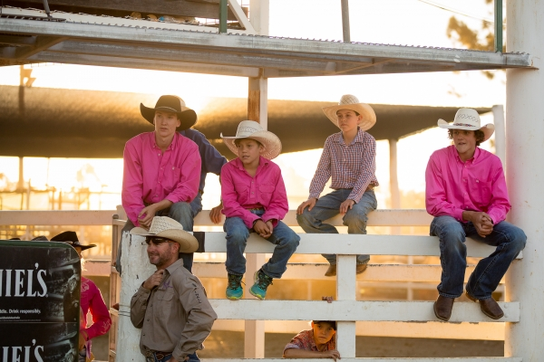 Cowboys sitting on a fence at the Warwick Rodeo